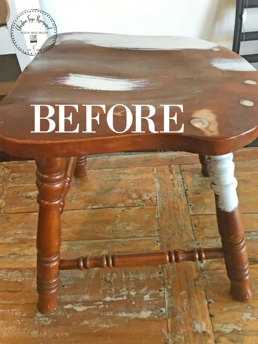 before - upcycled chair stool seat featured on salvagesisterandmister.com