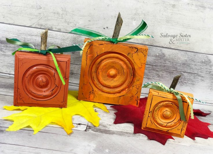 reuse project - upcycled wooden rosette pumpkins on salvagesisterandmister.com