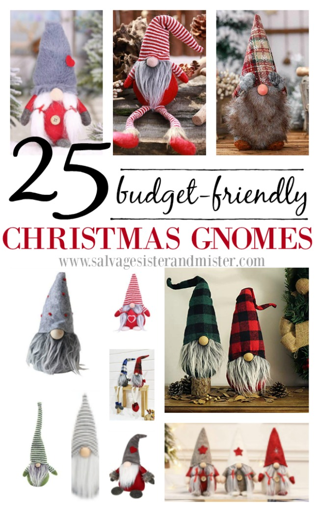The Swedish Christmas Gnome is not only a fun holiday tradition but is just too cute. Here are 25 budget friendly holiday gnomes PLUS a full tutorial on how to make a sock gnome (great reuse project). FInd these adorable gnomes at salvagesisterandmister (makes great gifts as well Scandinavian holiday decor)