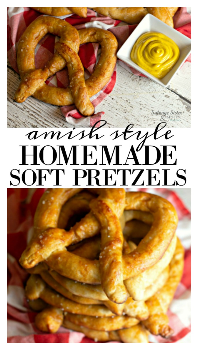 Amish style recipe - Buttery homemade soft pretzel recipe is a great way to celebrate Oktoberfest, National Pretzel Day, or any day. Make them with kids and share the pretzel legend-praying monk, step by step instructions on salvagesisterandmister.com These pretzels are really a tasty snack or treat. Serve with sipping sauces or change it up and make them sweet with a dusting of cinnamon and sugar mixture- yummy desert option