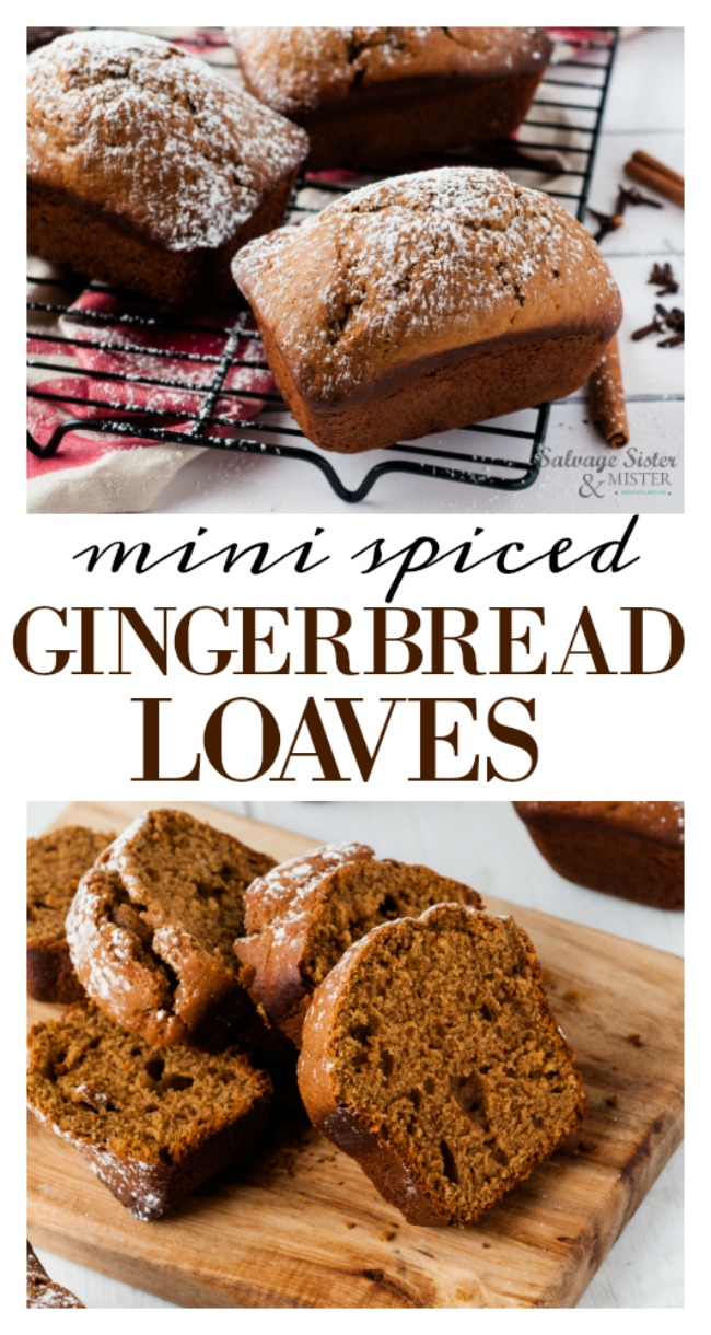 Are you ready for the holidays? You will be with these adorable treats. Yummy mini spiced gingerbread loaves is a great alternative to gingerbread houses that can often be wasteful when tossed. Try these instead (waste not, want not). Plus, they are a great gift idea for neighbors, friends, co-workers, the office, classmates, teachers, etc. Delicious recipe on salvagesisterandmister.com