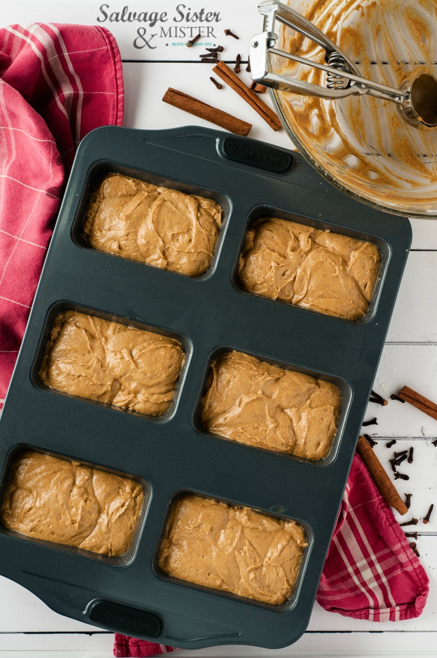 step by step recipe for mini spiced gingerbread loaves on salvagesisterandmister.com