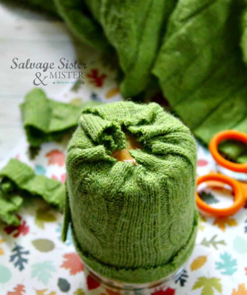 upcycled sweater candle cozy on salvagesisterandmister.com