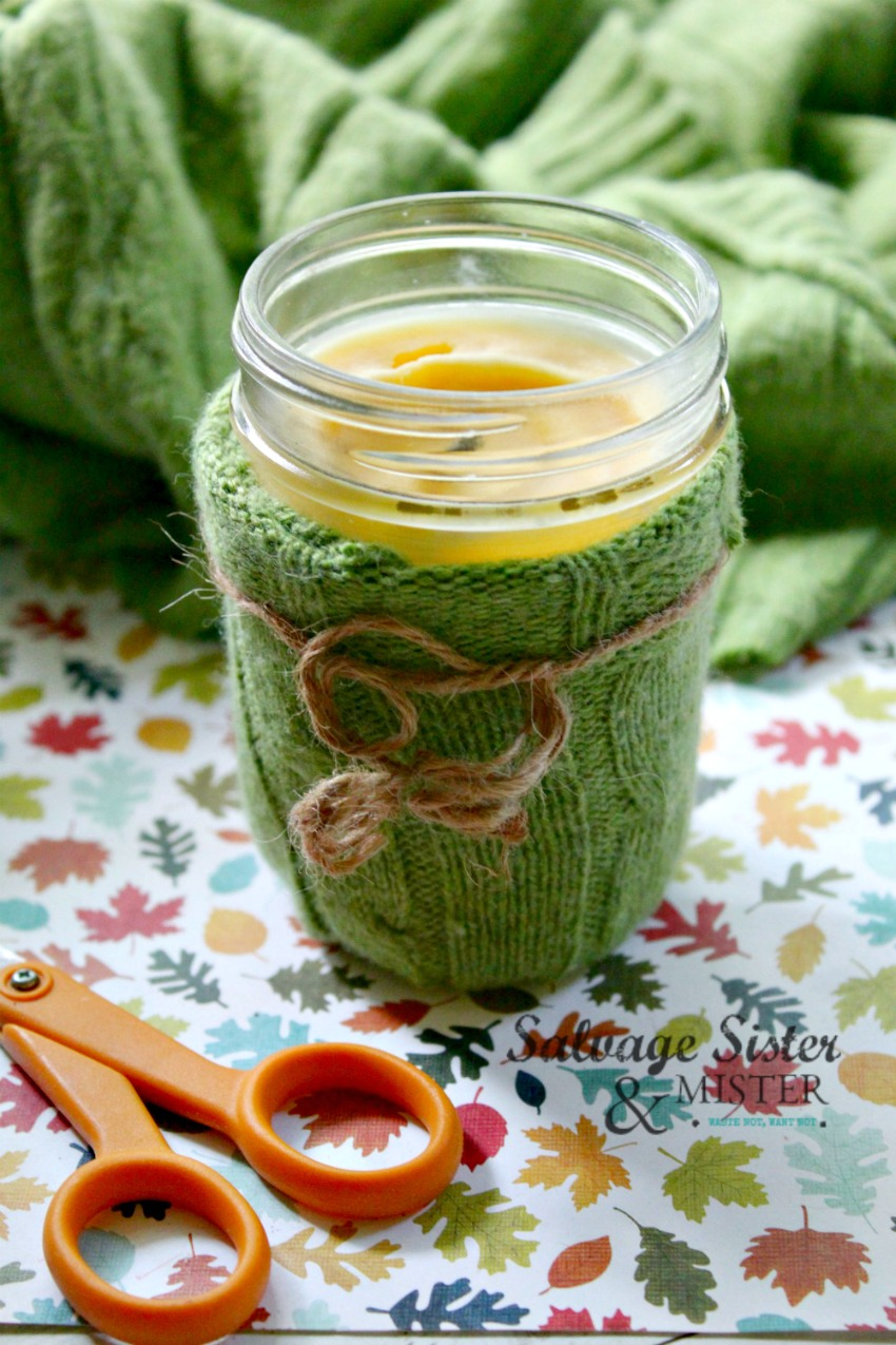 reuse an old sweater for this candle cozy on salvagesisterandmister.com