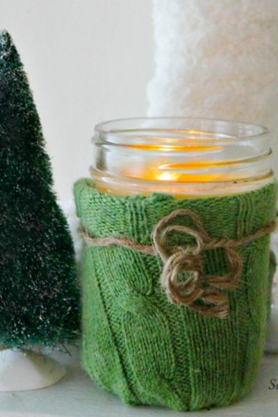 Turn a mason jar and an old sweater into a new home decor item perfect for winter or for a holiday gift. On salvagesisterandmister.com