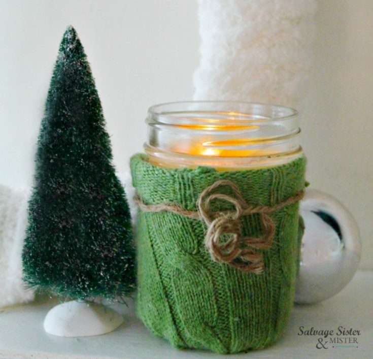 Repurposed Sweater Candle Cozy