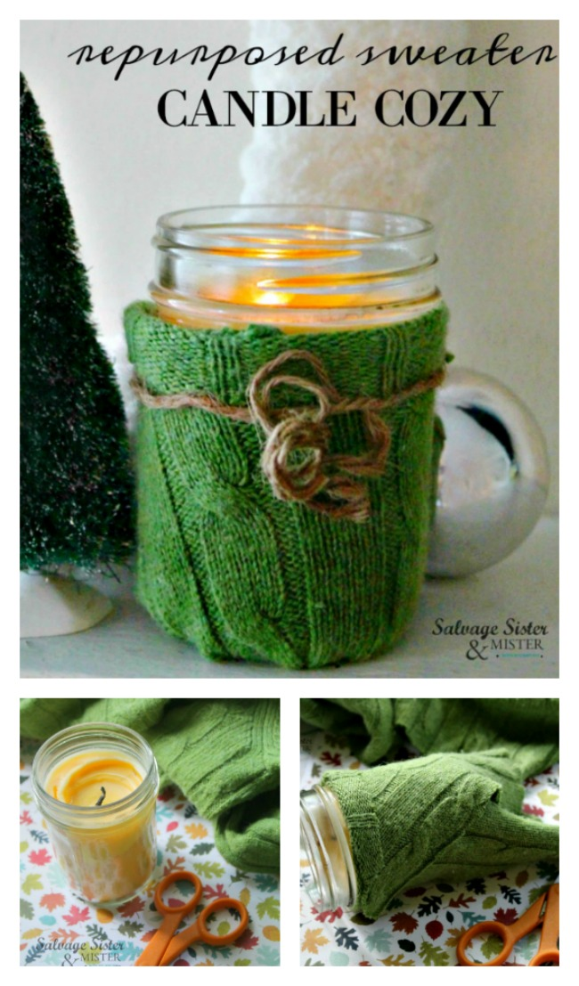 Don't toss that old sweater. It's a great item to upcycle. How about making a repurposed sweater candle cozy? This easy craft is great to make for your holiday or winter home decor OR to give as a gift (gift idea). Even kids can make this! Get the full DIY tutorial on salvagesisterandmister.com