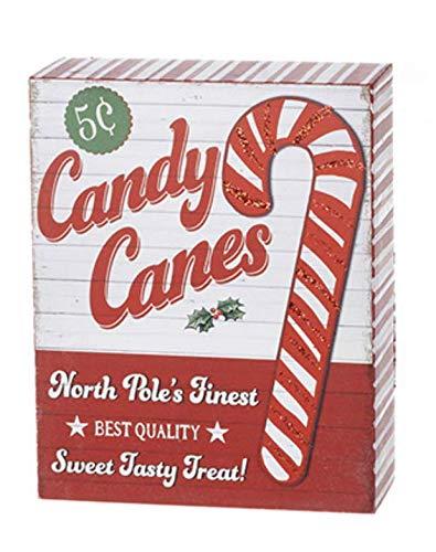 Retro Candy Cane Christmas Sign
