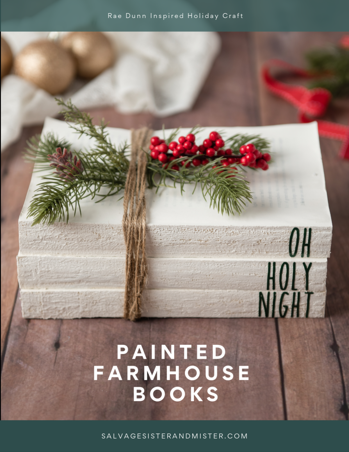 Holiday craft reuse - Rae Dunn inspired decorative painted farmhouse Christmas books is great for your holiday decor...budget friendly and a great way to reuse old thrift store books that need a new life. Simple to make and great with a cricut or silhouette, find the step by step tutorial on salvagesisterandmister.com