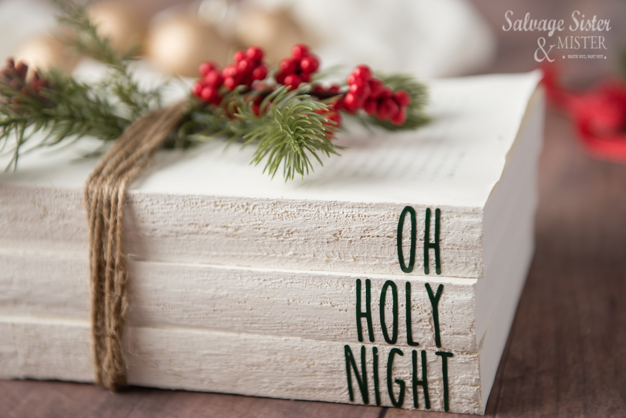 Holiday craft - Rae Dunn Inspired Painted Farmhouse Christmas Books Decor - reuse old books for this fun craft - Flea market style - thrift store transformation - on salvagesisterandmister.com