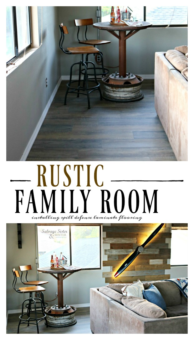 rustic family room - game room - man cave - basement inspiration, installing rustic faux wood spill defense laminate flooring on salvagesisterandmister.com #sponsored