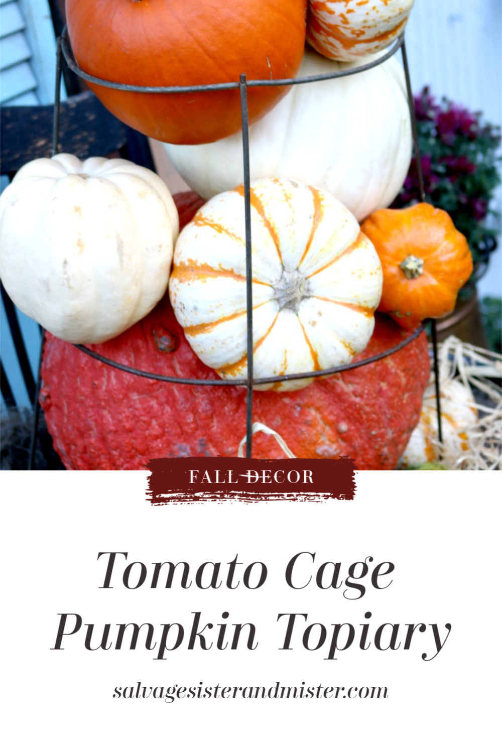 When your summer garden is over what can you do with a tomato cage you ask?  Get ready for fall decorating that's what.  Reuse them to make this tomato cage pumpkin topiary that is perfect for your front porch or backyard decor.  Great for a fall harvest festival and can be stuffed with faux pumpkins for an indoor display too.  Budget friendly and a great upcycle idea to repurpose what would otherwise just sit there until next garden season.  Visit salvagesisterandmister.com for more info.