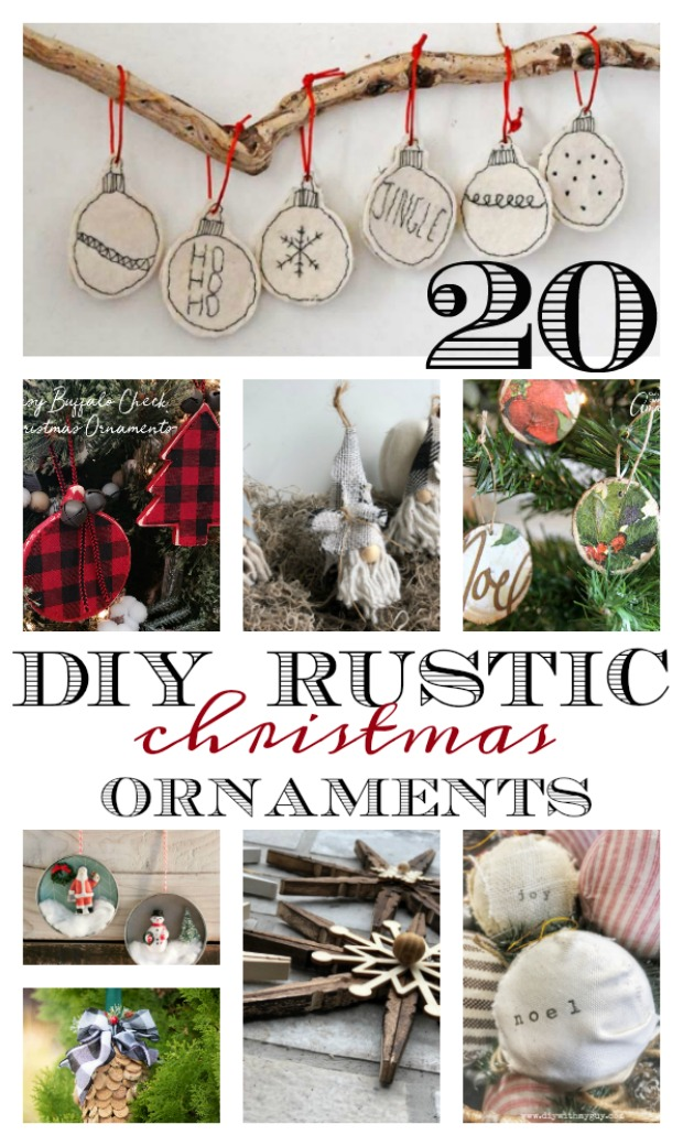 Creating your own ornaments for a gift to give, present topper, for your own tree, decorations, or at an ornament exchange.  These 20 rustic Christmas ornaments are easy to make and budget-friendly.  A lot of ideas to reuse what your have.  A craft project for a family tradition.  Whether your theme is a traditional rustic or farmhouse style, these will fit right in.  Chip and Joanna Gaines style.  Find them on salvagesisterandmister.com