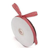 "Red Gingham Ribbon, 3/8"" x 50Yd Picnic Craft Ribbon Red Ribbons for Hair Accessories Craft and Christmas Gift Wrapping"