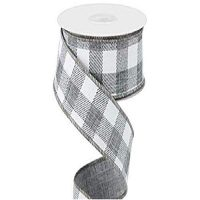 "Gray Plaid 2 .5"" in x 12' ~ Ribbon ~ Wire Edge Buffalo Plaid Design"