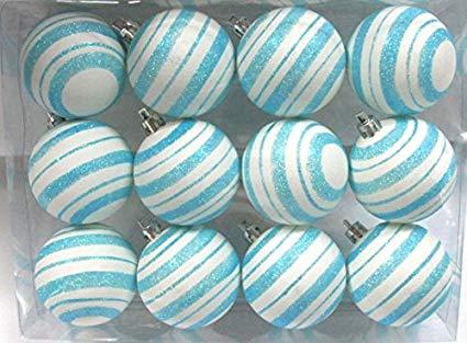 Aqua/White Ball Ornament