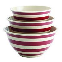 Paula Deen 46630 Pantryware Melamine Mixing Bowl Set, 3-Piece, Striped Red, Large,