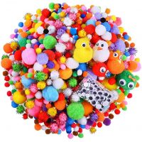 Caydo 1500 Pieces Fuzzy 5 Sizes Multicolor Assorted Pompoms, 3 Sizes Glitter Pompoms and 4 Sizes Wiggle Eyes for DIY, Creative Crafts Decorations