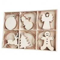 MACTING 30pcs Unfinished Wood Christmas Ornaments with Holes - Angel, Deer, Ball, Doll, Snowman, Christmas Tree Cutouts Tag Tree Hanging Decorations ¡­
