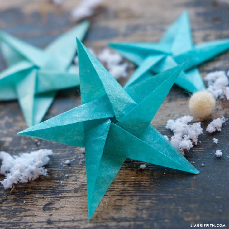 Tissue Star Origami Christmas Ornaments