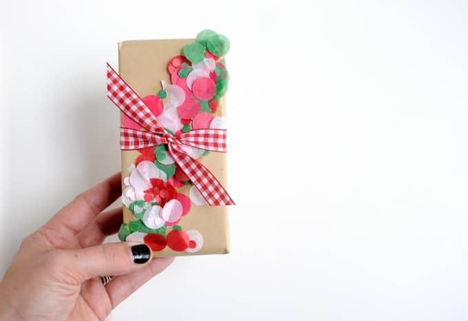 DIY Confetti Christmas Gift Wrap the Easy Way