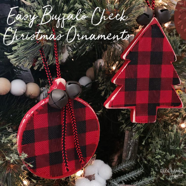 Easy Buffalo Check Christmas Ornaments