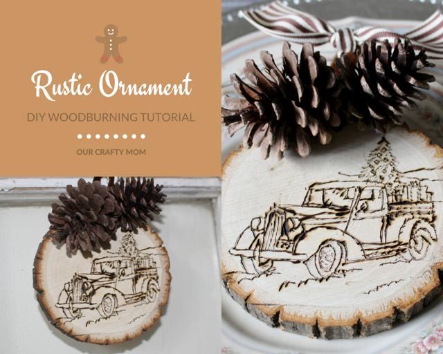 DIY Rustic Wood Slice Ornament - Our Crafty Mom