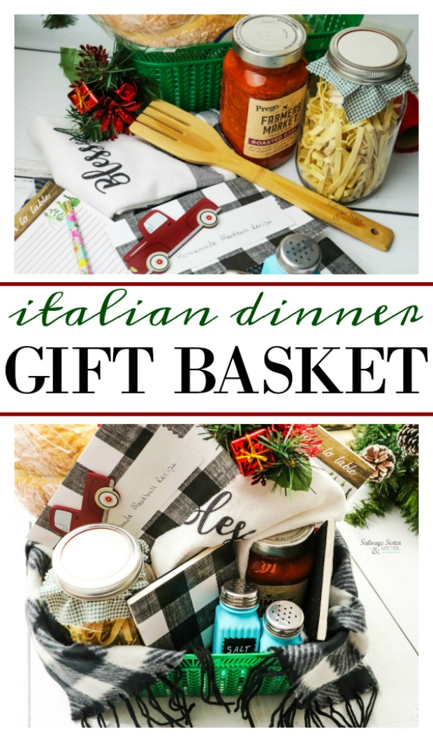 Budget friendly gift idea - Italian Dinner Gift Basket. This could easily be made with homemade items or dollar store finds. Even a few vintage or thrifted items could be added as well as some DIY crafts. Great for a neighbor, office gift, or for a friend. You could also make several of them for teachers too. Get the full details on this basket as well as tips on how to make a lovely gift basket on salvagesisterandmister.com