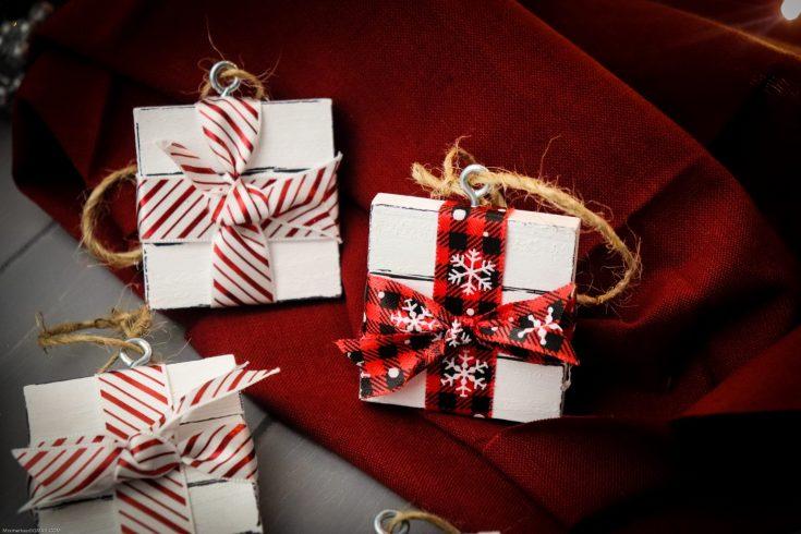 DIY Jenga Present Ornaments