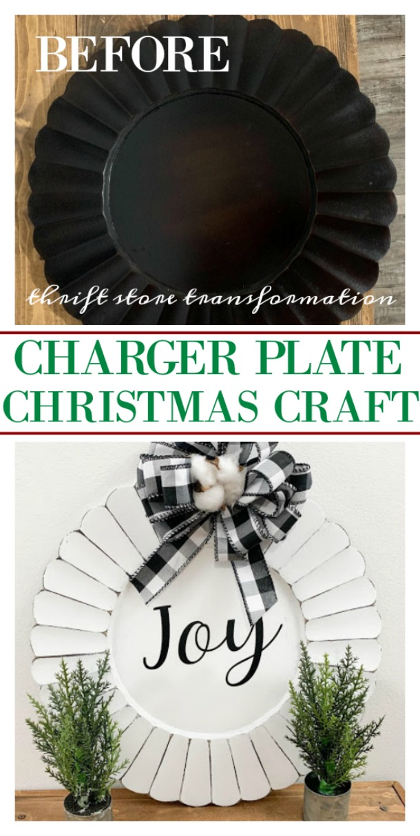 A thrift store transformation - charger plate Christmas craft.  Buffalo check and cotton stems to bring it farmhouse style.  Use your cricut or cinyl machine to create your graphic.  This project is perfect inexpensive holiday decor.  Find the full tutorial on salvagesisterandmister.com