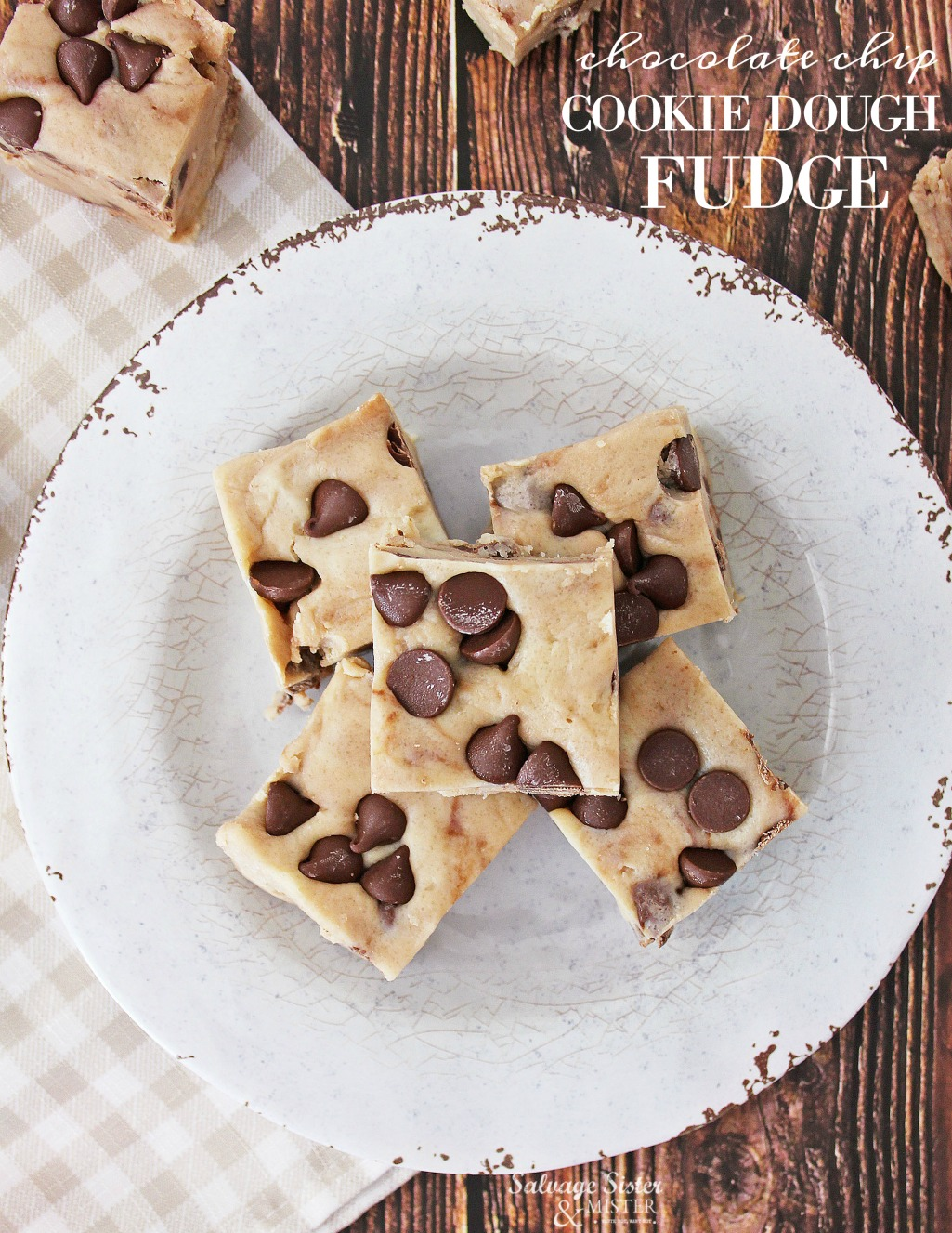 Why put dookie dough in the oven when you can put it in your mouth? Recipe chocolate chip cookie dough fudge is great for yourself, cookie exchange, neighbor gifts, for the office and more. Homemade and easy to make this is great for the gift giving season or anytime of year. Full recipe on salvagesisterandmister.com