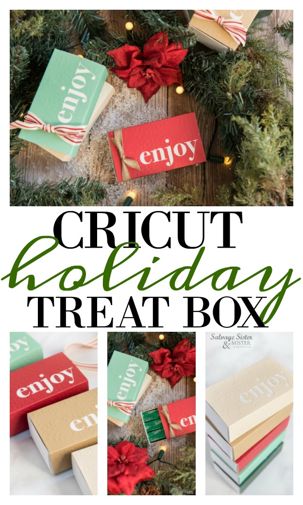 holiday gifts - Cricut treat box - Enjoy. Perfect office gift or for the neighbors. Fill it with store bought items or homemade treats. Fits Andes mints well. This little holiday gift box is a beautiful presentation. Change out the colors and use for other gift occasions. Paper crafts will love making these for Christmas gifts. Full tutorial on salvagesisterandmister.com