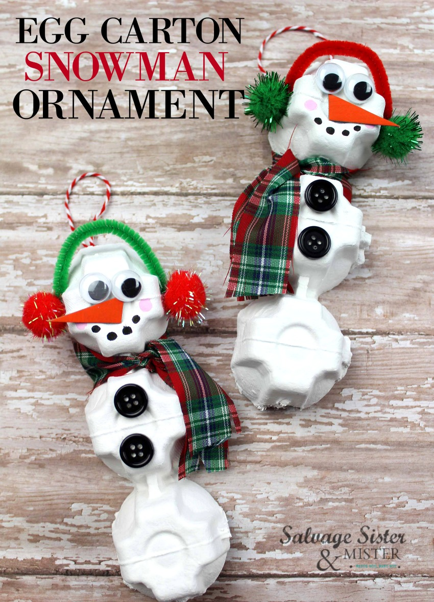 Turn your recycle into something fun - egg carton snowman ornament. This step by step tutorial is a great way to upcycle or repurpose items in a new way. Fun craft for all ages. Fun holiday tradition to make ornaments together. Get the diy info on salvagesisterandmister.com (budget-friendly)