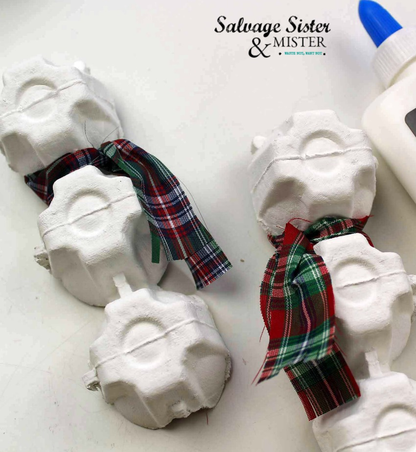 diy craft - egg carton snowman ornament on salvagesisterandmister.com