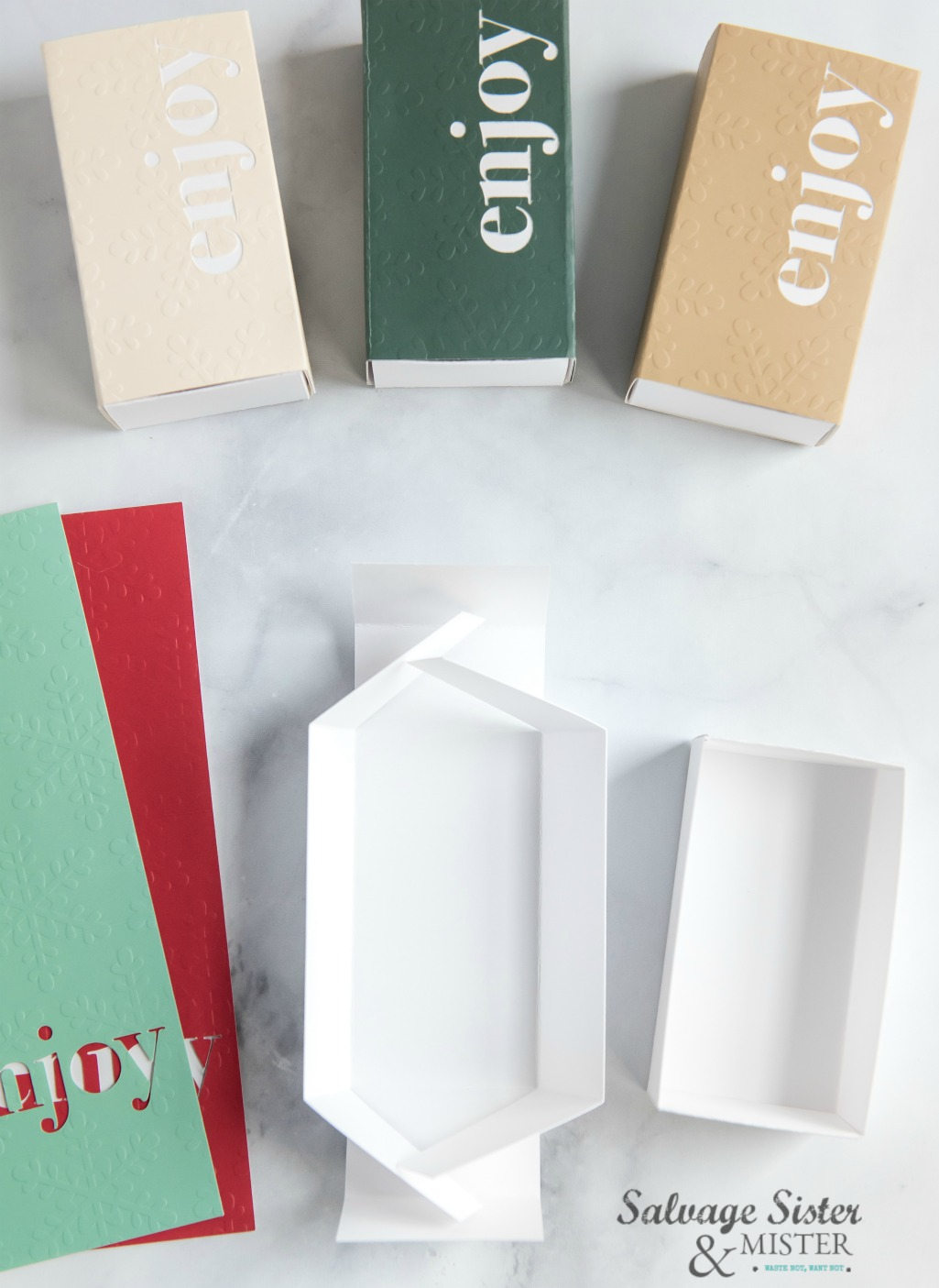 """Enjoy"" cricut treat box on salvagesisterandmister.com"