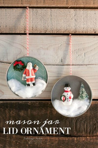 Using a lid from a canning jar to make this - diy mason jar lid ornament - craft project is easy and inexpensive. Great for ornament exchanges, gifts, classroom projects, family craft / tradition, etc Get the full tutorial on salvagesisterandmister.com