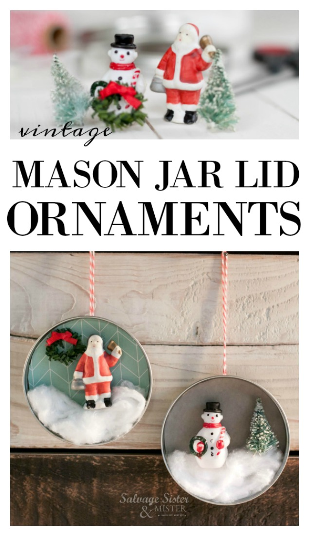 Don't flip your lid..reuse it.  Turn those mason jar lids into a festive decoration.  Make a mason jar lid ornament with those canning lids.  Great reuse project.  This repurposed craft is easy to make and budget freindly.  Plus it has a retro or vintage vie to it.  Get the full diy instructions on salvagesisterandmister.com
