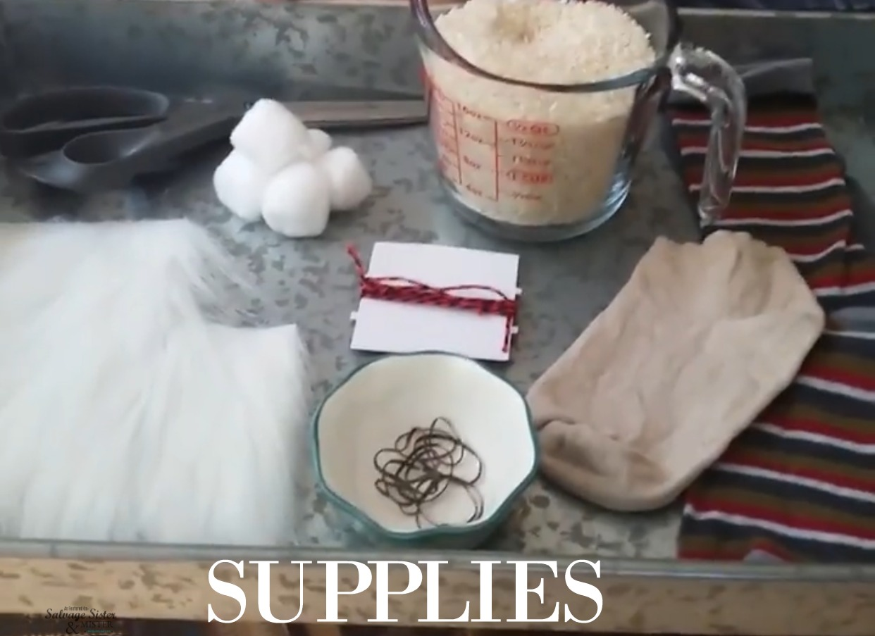 supplies for no-sew sock gnome craft
