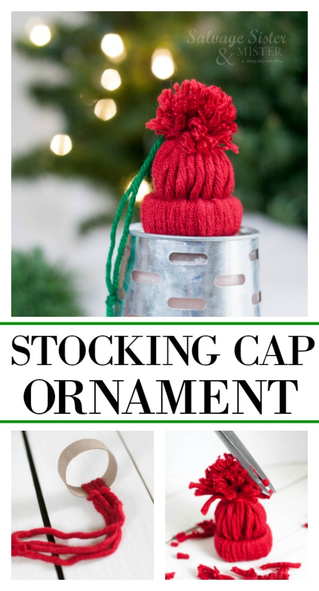 Fun holiday craft - stocking cap ornament.  Great reuse or repurpose of a toilet paper roll and also uses scrap yarn.  Make these for your own tree decorations or to give as a gift (ornament exchange).  Would be fun for a group craft activity or in a classroom.  You can also use these to attach to your gift.  Find this full DIY tutorial on salvagesisterandmister.com