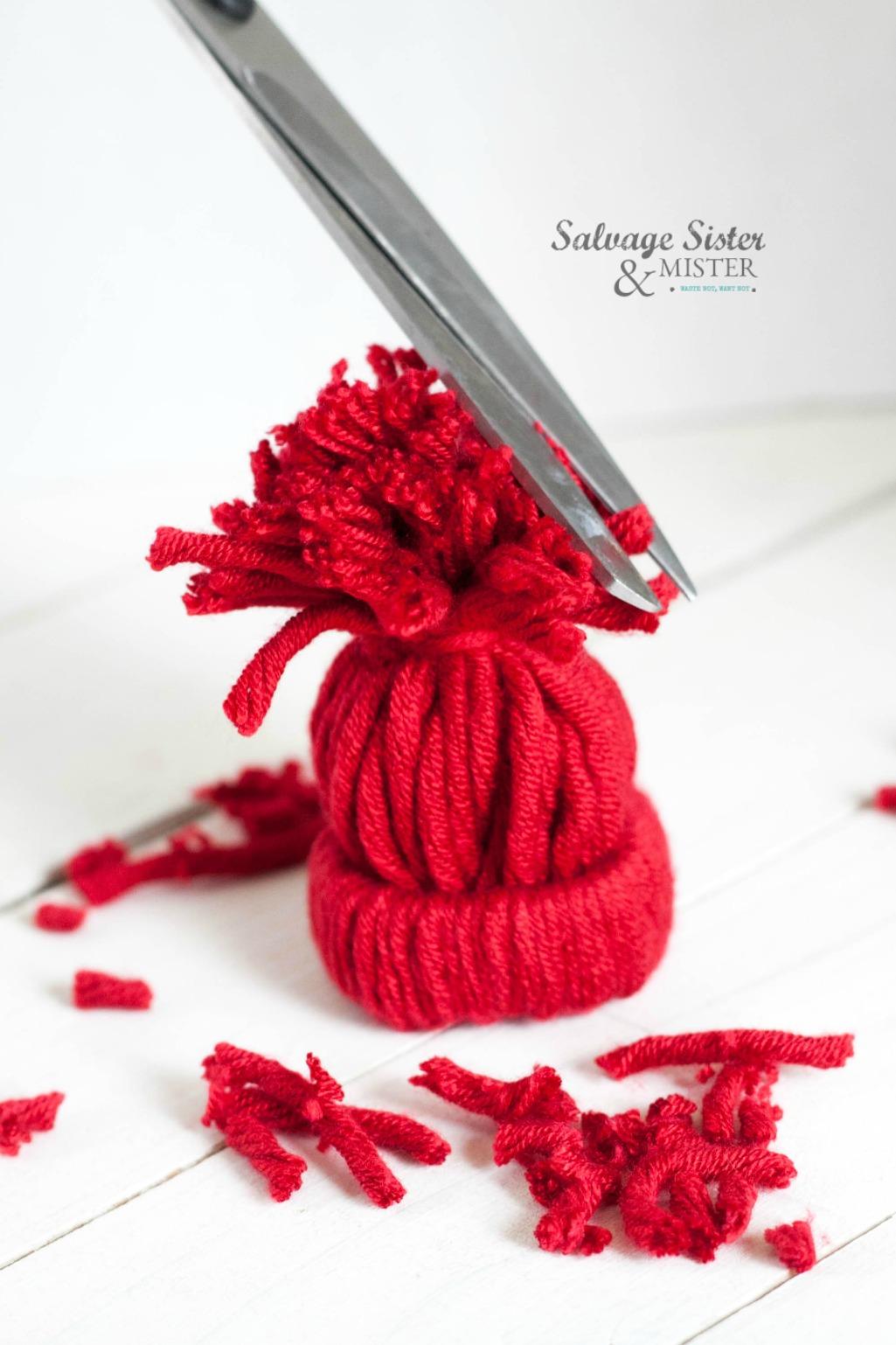 crafting stocking cap ornaments on salvagesisterandmister.com