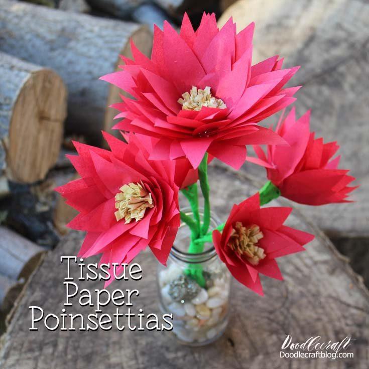 DIY Tissue Paper Poinsettia Centerpiece!