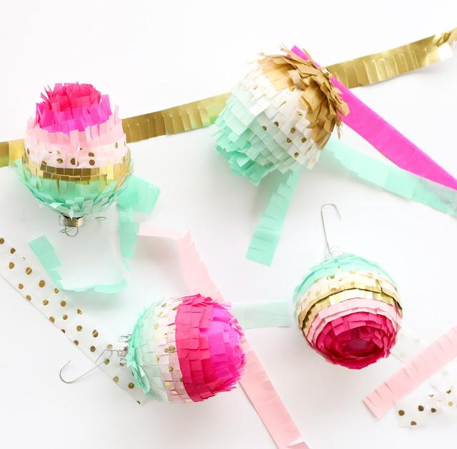 Tissue Paper Fringe Ornaments