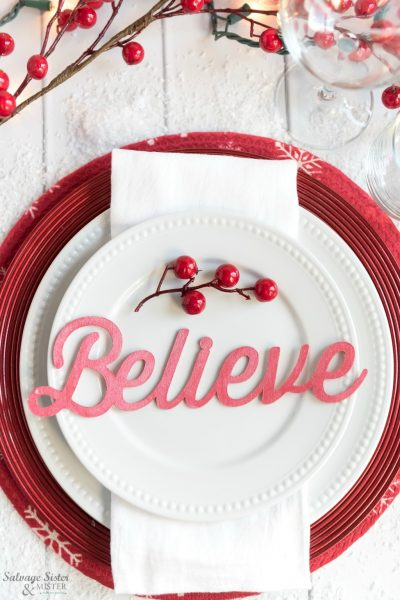 DIY craft using your Cricut. Make these Christmas place card settings for your budget-friendly tablescape and also give them as a gift to your guests so they can be reused again and again. Great craft you can make for your holiday table or for others crafts as well. Find the svg file and tutorial on salvagesisterandmister.com PLUS all sorts of simple holiday thrift projects from the Thrift style team