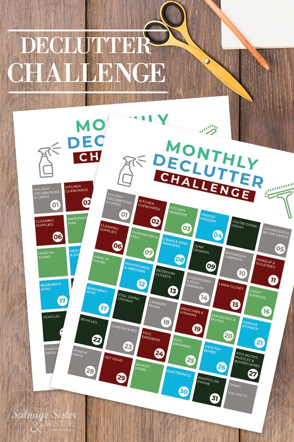 declutter challenge is a great way to get  a small reminder each day to tackle all the stuff in your home/life.  Join us on a journey to simplify what we have so that we can open ourselves up to whats in the future.  Organizing, purge, declutter, clutter, january, new year, organize, on salvagesisterandmister.com