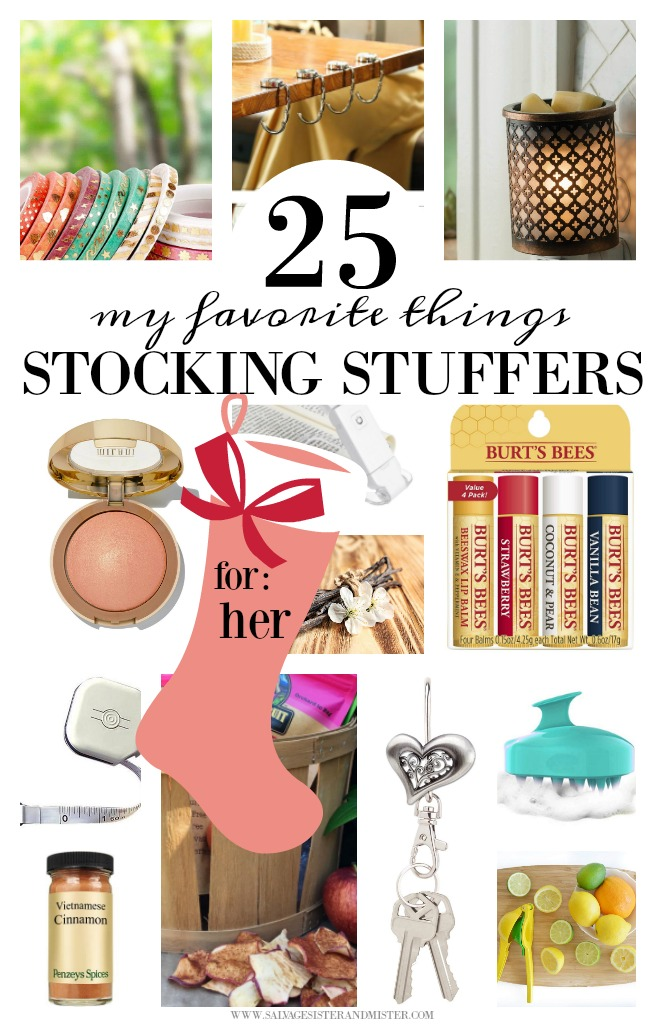 These stocking ideas for her list are some of my favorite things, that I own and use. Plus, an additional 25* more ideas and stocking stuffer tips for your wife, girlfriend, friend, daughter, daughter-in-law-, aunt, etc. Giving doesn't have to be expensive. Budget-friendly stocking stuffer ideas as well. Get the list at salvagesisterandmister.com