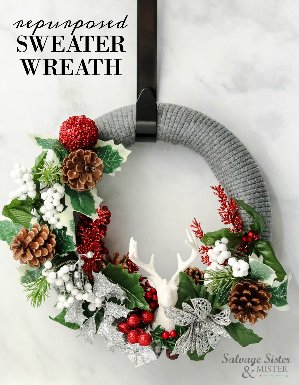 A beautiful way to reuse an old (damaged) sweater. This easy craft is quick to make and requires little supplies. Most items you will have on hand or can find at a yard sale, thrift store, or your local dollar store. Budget-friendly holiday decor. Can also be given as a gift. Get this full DIY tutorial at salvagesisterandmister.com (waste not, want not)