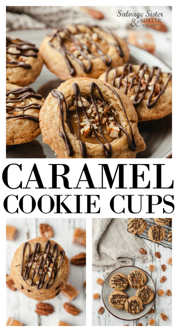 Turtle cookie cups or caramel cookie cups. Make these treats for a gift (neighbor, co-workers, office), cookie exchange parties, or for everyday treats. These are brown sugar cookies with a bonus of caramel. Add some sea salt instead of the chocolate and add sea salt for a salted caramel cookie cup. Very versatile. Get this full recipe at salvagesisterandmister.com