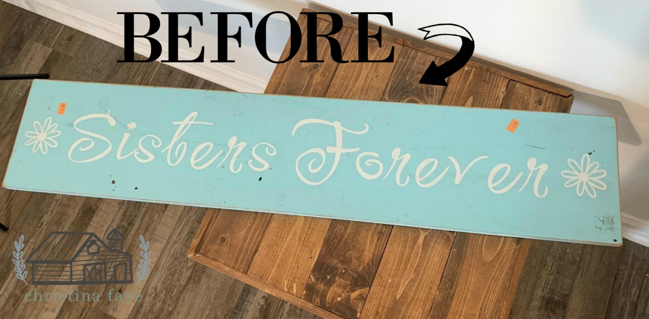 the before of a thrift store sign see the after on salvagesisterandmister.com