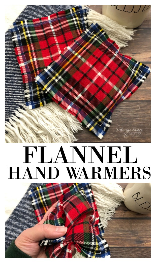 Diy flannel hand warmers are great to keep your hand warm and to give as gifts.  You can use fabric scraps to create this sewing project.  Easy  begining sewing project.  Create lots to give as gifts.  Cold hands and warm heart no more..warm hands and warm hearts on salvagesisterandmister.com
