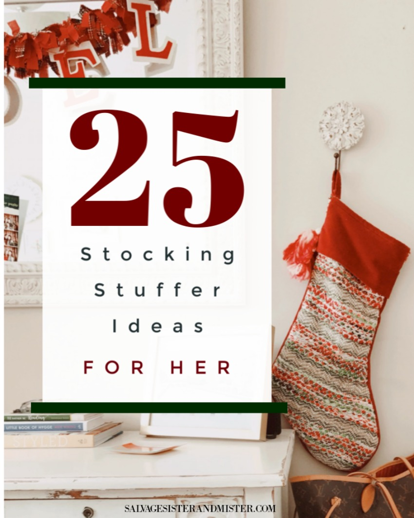 25 favorite things stocking ideas for her plus an addiitonal 5+ more ideas and stocking stuffer tips on giving a meaningful but budget-friendly stocking for the speical lady (women) in your life (girlfriend, wife, mother-in-law, mom, aunt, friend, etc)